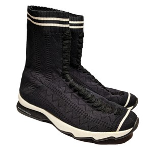 Fendi Rockoko Sneaker Boots Knit Black Athletic