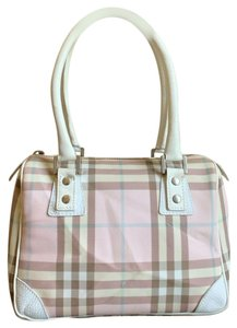 9387e003e1 Burberry London Leather Nova Check Vintage Satchel in Pink, White