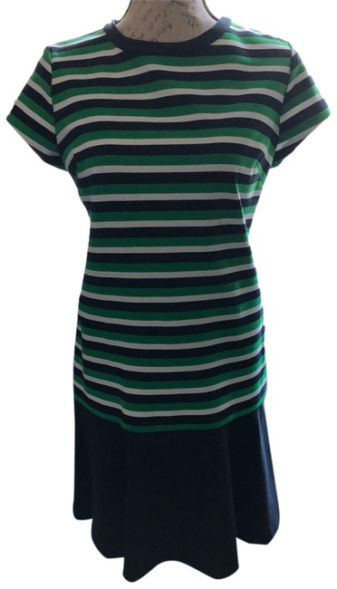 MICHAEL Michael Kors Navy/Kelly Green/White Mk Short Casual Dress Size 8 (M) MICHAEL Michael Kors Navy/Kelly Green/White Mk Short Casual Dress Size 8 (M) Image 1