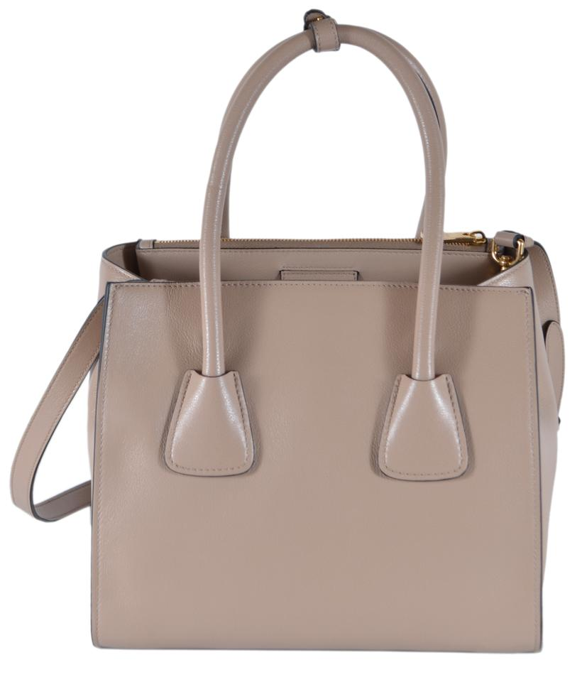 03620bc0d03 Prada New Glace Twins Convertible Shopper Purse Beige Leather Tote 56% off  retail