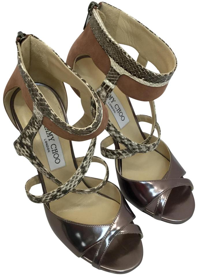 f72c3f10778 Jimmy Choo Gray Freesia Suede Snakeskin Strappy Sandals - Pumps Size EU 37  (Approx. US 7) Regular (M, B) 69% off retail