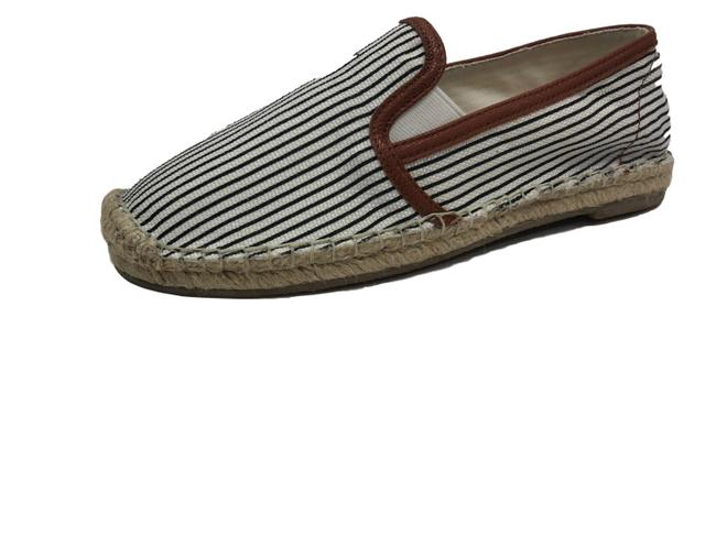Item - Black/White Adrien Canvas Espadrilles Flats Size EU 37 (Approx. US 7) Regular (M, B)
