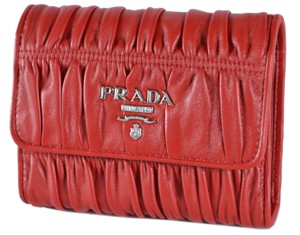 Prada New Prada Nappa Ruched Leather Trifold Wallet W/Coin Pocket