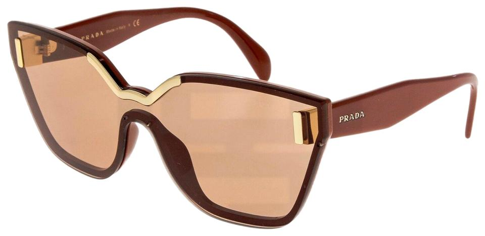 27dbdb9e77 Prada Brown Terracotta Hide Pr16ts Translucent Shield 16t Sunglasses 46%  off retail
