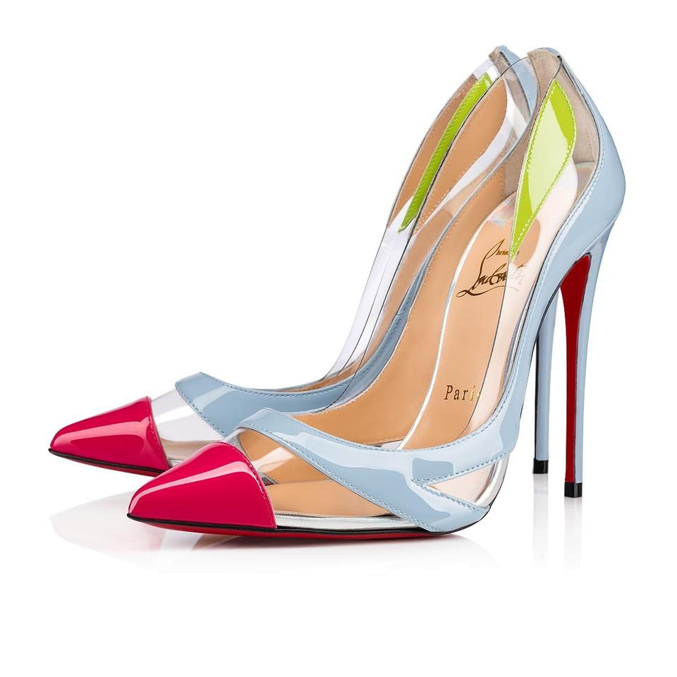 fcdbd6f8a9 Christian Louboutin Blue Pink Green Blake Is Back 120 Colorblock Pvc Patent  Leather Heels Pumps