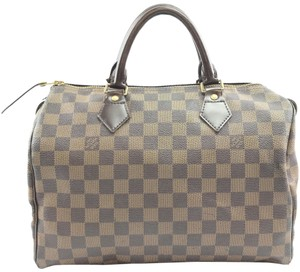 Louis Vuitton Lv Speedy Damier Canvas Satchel in brown