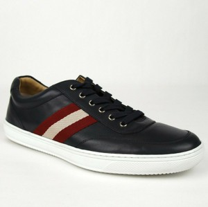 Bally Dark Blue Calf Leather Sneaker with Red Beige Web 12d Oriano.o-495 Shoes