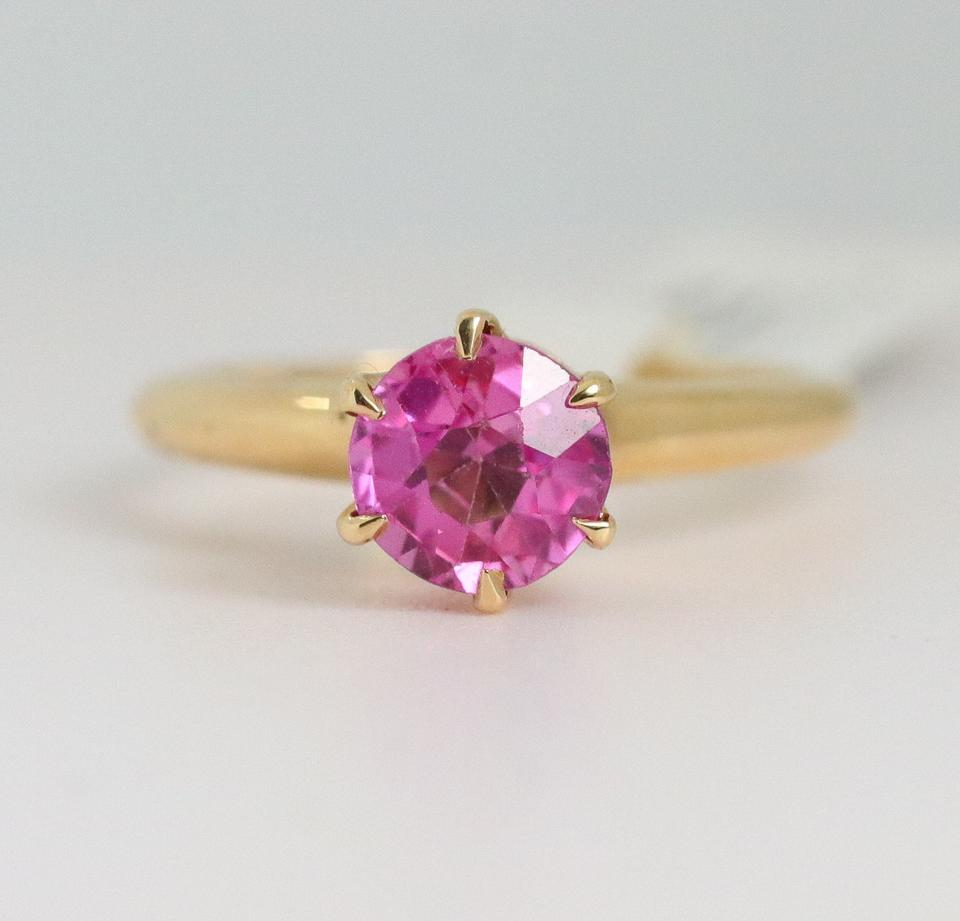 Pink Sapphire 14k Yellow Gold Antique Solitaire (1.0 Carat) Engagement Ring