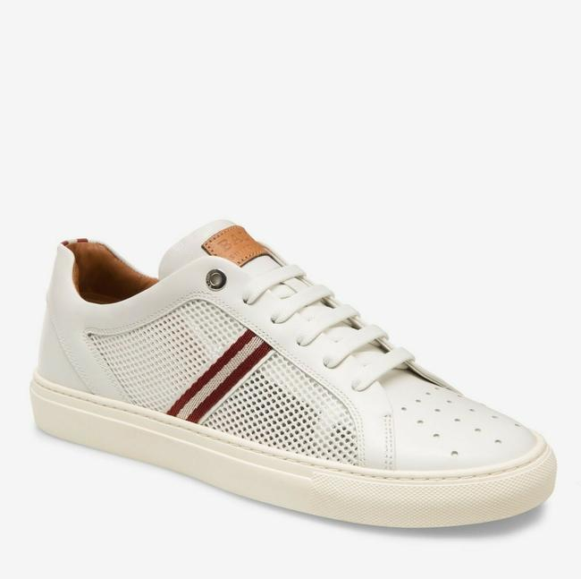 Item - White W Calf Leather Sneakers W/Red Beige Web 7d Herk-u-07 Shoes
