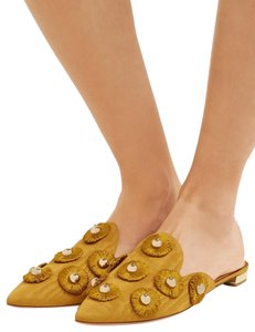 Aquazzura Comfortable Gold Pointed Toe Golden mustard Mules