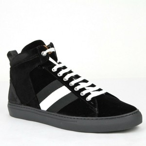 Bally Black W Silk Velvet Fabric Hi-top Sneakers W/Web 12d Hedern-v-00 Shoes