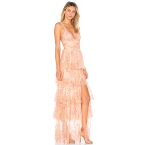 alice McCALL Lace Pleated Embroidered Gown Full Length Dress