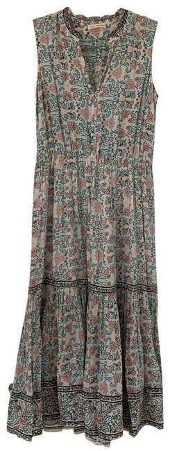 Item - Floral Print: Off White Blush Turquoise Black and Gold. 105177 Mid-length Casual Maxi Dress Size 4 (S)