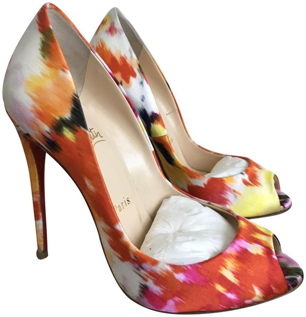 Item - Multicolor 2014 Spring Youpi Satin Bouquet 120mm Pumps Size US 6 Narrow (Aa, N)