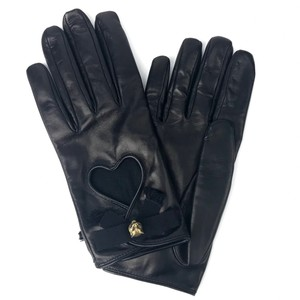 Gucci GUCCI Black Leather Gloves with Heart and Bow Detail