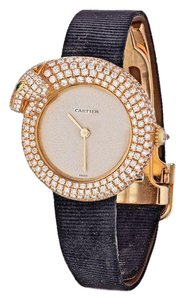 Cartier Panther Diamond Emerald Pave Watch Leather Strap 2309