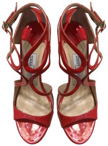 Jimmy Choo Patent Coral Sandals