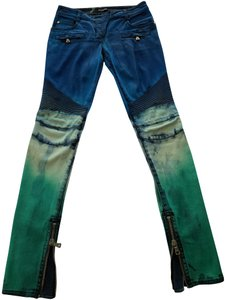 Balmain Stitching Gold Zippers One Of A Kind Straight Leg Jeans-Distressed