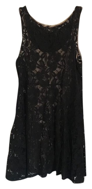 Item - Black and Nude Miles Of Lace Fit & Flare Short Casual Dress Size 6 (S)