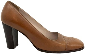 Chanel Square Toe Cap Toe Chunky Brown Pumps