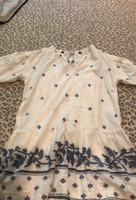 Madewell short dress linen white and blue on Tradesy Image 1