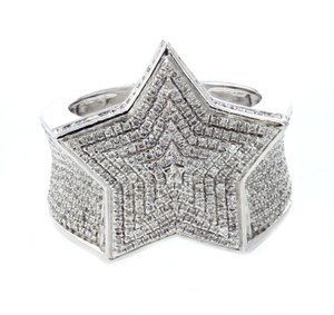 Sterling Silver Diamond For Men 1.35ctw Extra Wide 21mm Ring