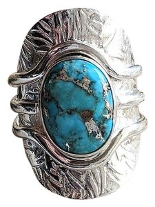Handmade Unique Sterling Silver & Morenci Turquoise Ring Size 8