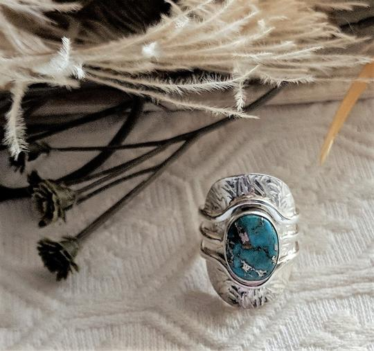 Handmade Unique Sterling Silver & Morenci Turquoise Ring Size 8 Image 6