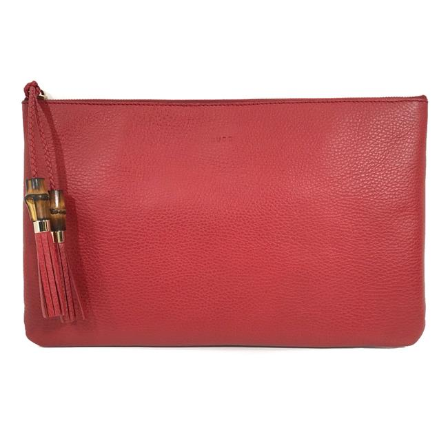 Gucci Bamboo Detail Red Leather Clutch Gucci Bamboo Detail Red Leather Clutch Image 1