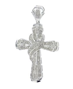 Midwest Jewellery 1.20ctw Diamond Cross Pendant for Men 64mm 2.5 Inch Tall pendant
