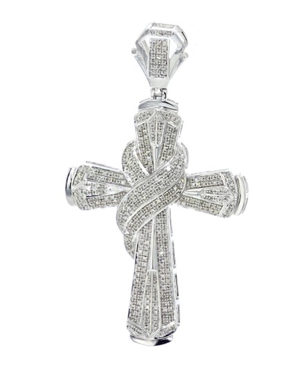Midwest Jewellery 1.20ctw Diamond Cross Pendant for Men 64mm 2.5 Inch Tall pendant Image 0