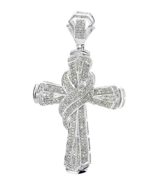 Unbranded Sterling Silver 1.20ctw Diamond Cross Pendant For Men 64mm 2.5 Inch Tall Pendant Charm Unbranded Sterling Silver 1.20ctw Diamond Cross Pendant For Men 64mm 2.5 Inch Tall Pendant Charm Image 1