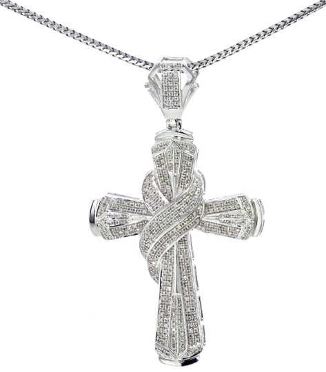 Midwest Jewellery 1.20ctw Diamond Cross Pendant for Men 64mm 2.5 Inch Tall pendant Image 2