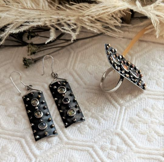 Handmade Unique Oxidized Sterling Silver Mexican Opal Ring & Earrings Set Image 7