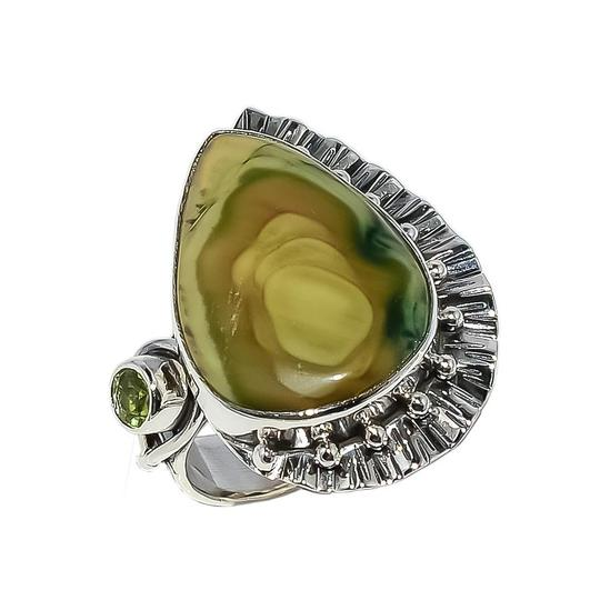 Handmade Artisan Crafted Sterling Silver Imperial Jasper Peridot Ring Size 7.5 Image 1