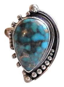Handmade Artisan Sterling Silver Copper Mohave Blue Turquoise Adjustable Ring