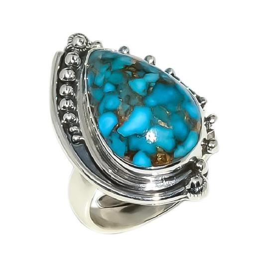 Handmade Artisan Sterling Silver Copper Mohave Blue Turquoise Adjustable Ring Image 1