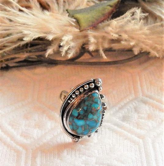 Handmade Artisan Sterling Silver Copper Mohave Blue Turquoise Adjustable Ring Image 2