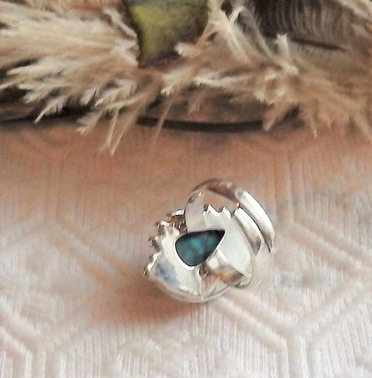 Handmade Artisan Sterling Silver Copper Mohave Blue Turquoise Adjustable Ring Image 4