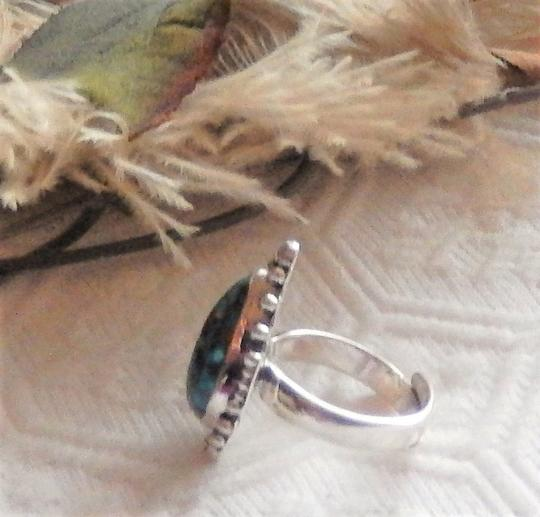Handmade Artisan Sterling Silver Copper Mohave Blue Turquoise Adjustable Ring Image 5
