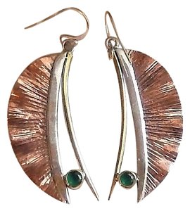 Handmade Artisan Crafted Sterling Silver Copper Emerald Earrings