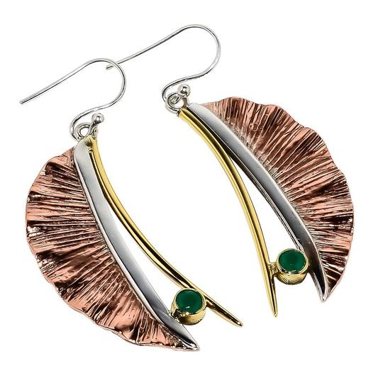 Handmade Artisan Crafted Sterling Silver Copper Emerald Earrings Image 1