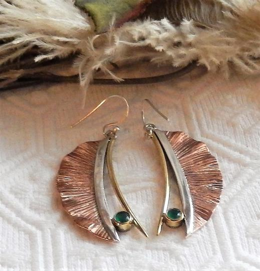 Handmade Artisan Crafted Sterling Silver Copper Emerald Earrings Image 2