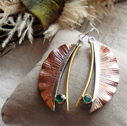 Handmade Artisan Crafted Sterling Silver Copper Emerald Earrings Image 3