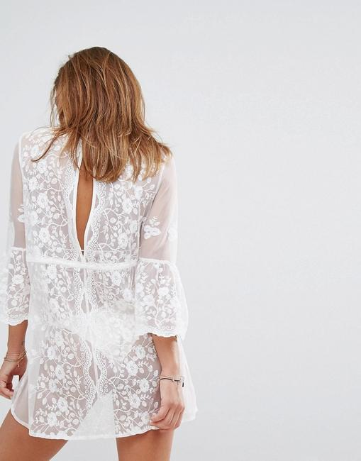River Island Sexy Tunic RIVER ISLAND Lace Mesh Floral Embroidered Cover Up Caftan Image 1