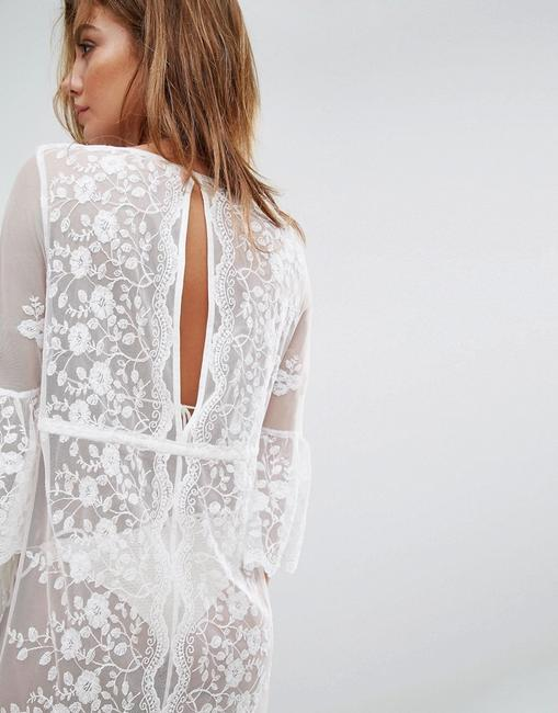 River Island Sexy Tunic RIVER ISLAND Lace Mesh Floral Embroidered Cover Up Caftan Image 2