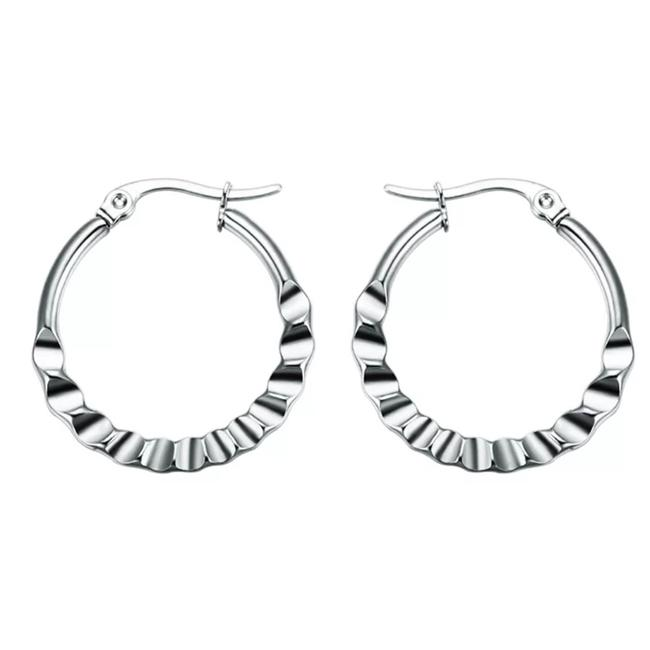** Stainless Steel / Silver Surgical Deep Ridge Design Hoop Earrings ** Stainless Steel / Silver Surgical Deep Ridge Design Hoop Earrings Image 1