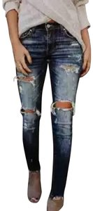 Kancan Destroyed Ripped Denim Stretchy Skinny Jeans-Dark Rinse