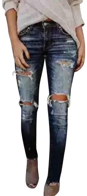 Kancan Destroyed Ripped Denim Stretchy Skinny Jeans-Dark Rinse Image 0