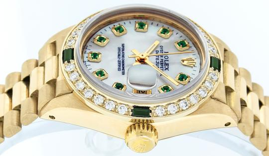 Rolex Ladies Datejust 18k Yellow Gold with MOP Emerald Dial Image 3